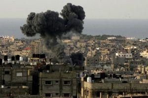 Smoke billows following Israeli air strikes in southern Gaza Strip