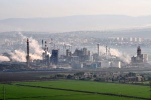 View of chimneys from a refinery in the Haifa Bay