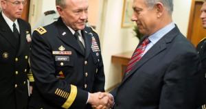Neben Gantz (nicht im Bild) traf US-Generalstabschef Demspey (l.) auch Premierminister Netanjahu (r.). Foto: D. Myles Cullen