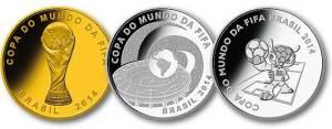 Gold- und Silber-Gedenkmünzen des WM-Gastgebers Brasilien.