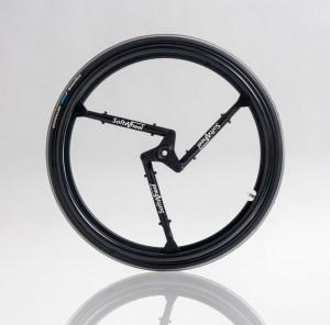 Revolution im Radbau: Die neuen Räder der Firma Softwheel haben die Federarme bereits eingebaut. Sie sind Rad und Aufhängung in einem Stück!