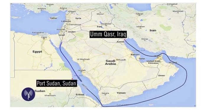 """Der Weg der """"Klos-C"""" führte von Bandar Abbas im Persischen Golf nach Umm Kasr im Süden des Irak und durch den Indischen Ozean in Richtung Port Sudan im Roten Meer."""