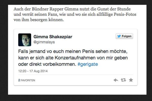 Rap you, Gimma! Auf dem Twitter-Konto des Musikers ist nur noch der Screenshot von unserer Website zu finden.