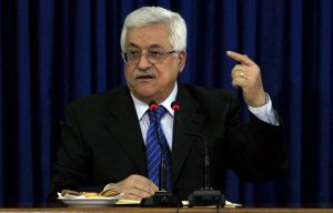 Palestinian President Mahmoud Abbas gestures as he speaks at a meeting of the Fatah Central Committee