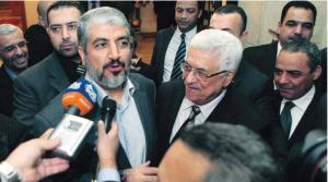 Nur vor den Medien herrscht scheinbare Eintracht Maschal und Abbas.