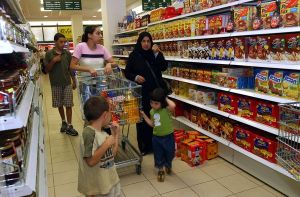 Palestinian women are doing their shopping in the supermarket in the new Gavel mal