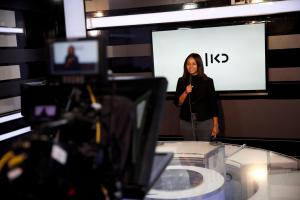 FILE PHOTO: A presenter's on-camera skills are tested at the offices of Kan, the new Israeli Public Broadcasting Corporation, in Tel Aviv, Israel
